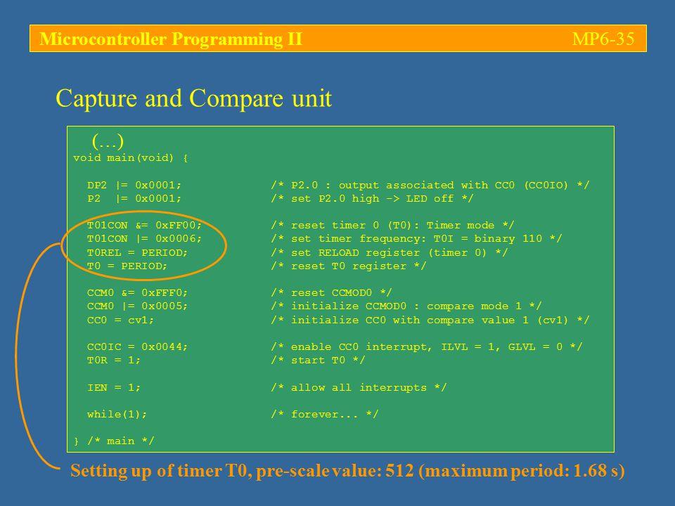 Microcontroller Programming IIMP6-35 (…) void main(void) { DP2  = 0x0001; /* P2.0 : output associated with CC0 (CC0IO) */ P2  = 0x0001; /* set P2.0 hi