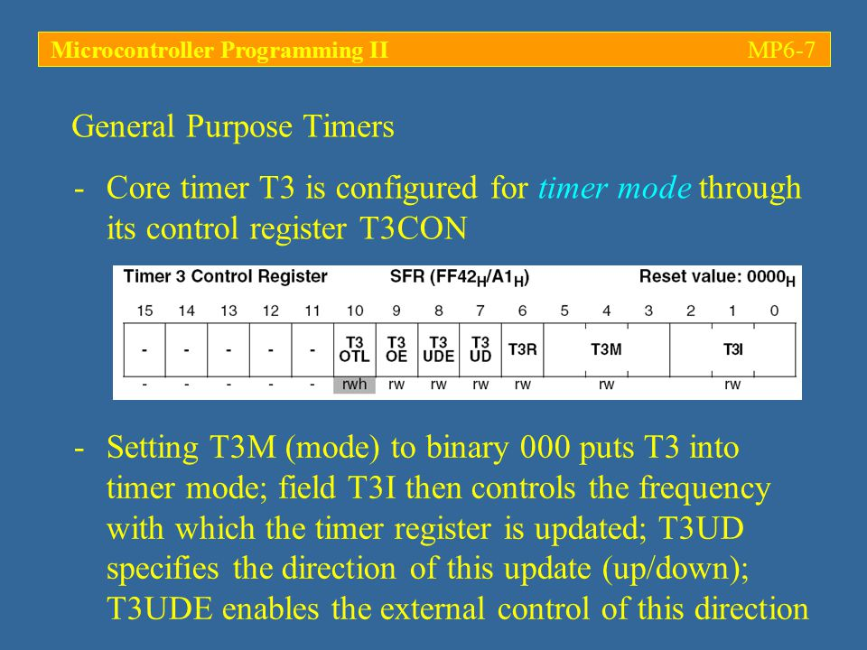 Microcontroller Programming IIMP6-28 -32 capture/compare registers CCx are used to store the 16-bit values of a capture or compare operation; the association between a CCx register and any of the CAPCOM timers is detailed in the so-called capture/compare mode control registers (CCMx) -The mode of each channel is defined by 4 bits Capture and Compare unit CCM0 controls channels CC0 – CC3; CCM1 … CC4 – CCM7, etc.