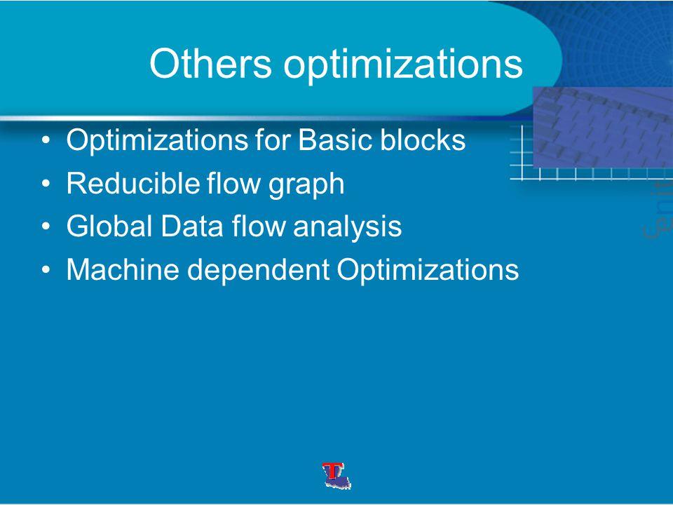 Others optimizations Optimizations for Basic blocks Reducible flow graph Global Data flow analysis Machine dependent Optimizations