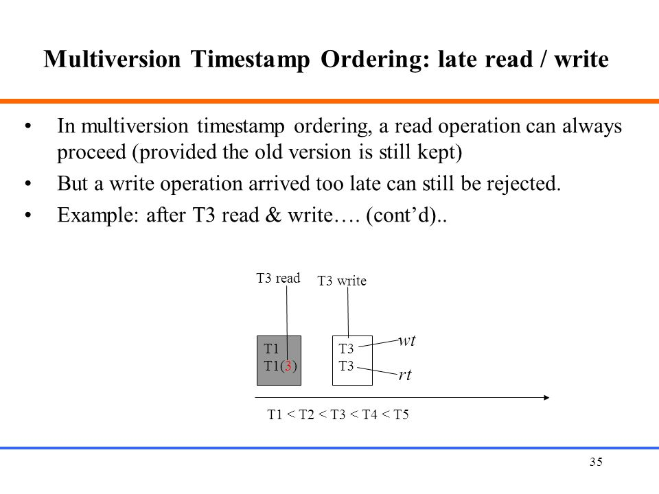 35 Multiversion Timestamp Ordering: late read / write T1 T1(3) T3 T3 read wt rt T1 < T2 < T3 < T4 < T5 In multiversion timestamp ordering, a read operation can always proceed (provided the old version is still kept) But a write operation arrived too late can still be rejected.