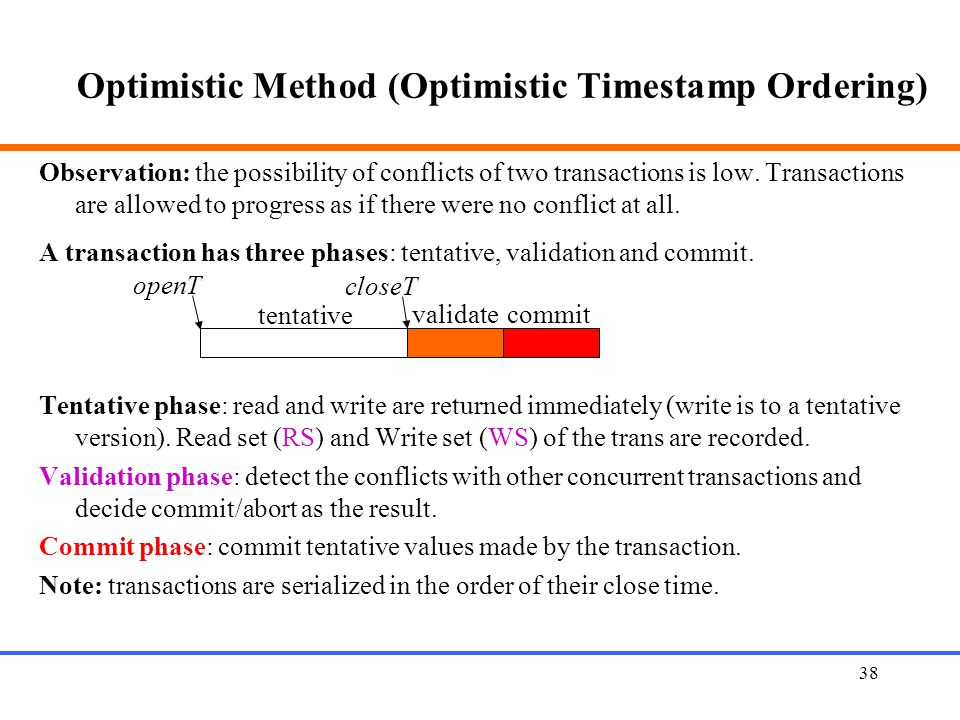 38 Optimistic Method (Optimistic Timestamp Ordering) Observation: the possibility of conflicts of two transactions is low.