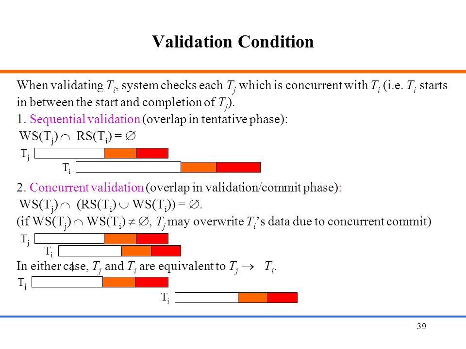 39 Validation Condition When validating T i, system checks each T j which is concurrent with T i (i.e.