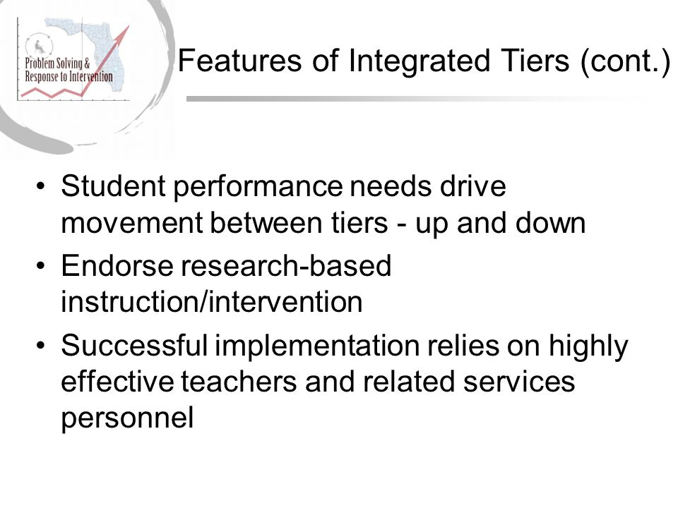 Student performance needs drive movement between tiers - up and down Endorse research-based instruction/intervention Successful implementation relies