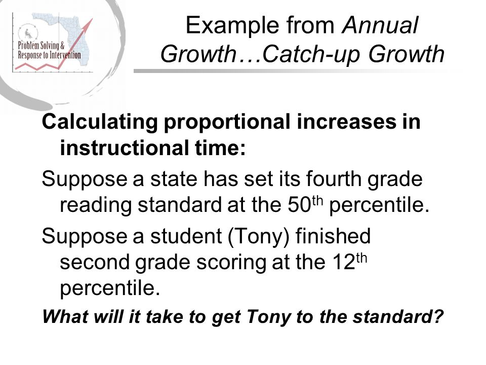 Example from Annual Growth…Catch-up Growth Calculating proportional increases in instructional time: Suppose a state has set its fourth grade reading