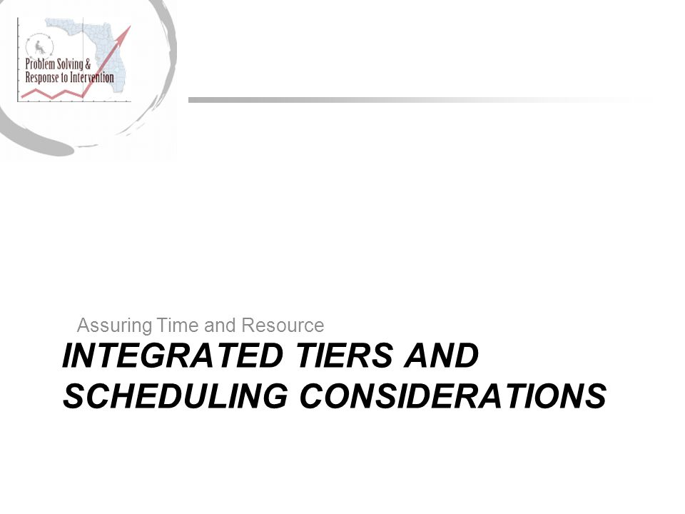 INTEGRATED TIERS AND SCHEDULING CONSIDERATIONS Assuring Time and Resource