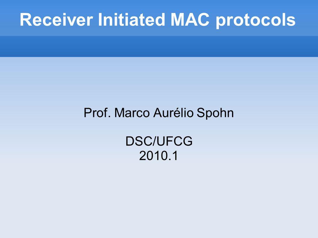 Receiver Initiated MAC protocols Prof. Marco Aurélio Spohn DSC/UFCG 2010.1