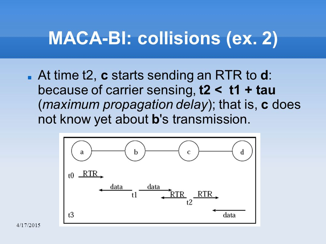 4/17/2015 MACA-BI: collisions (ex. 2) At time t2, c starts sending an RTR to d: because of carrier sensing, t2 < t1 + tau (maximum propagation delay)