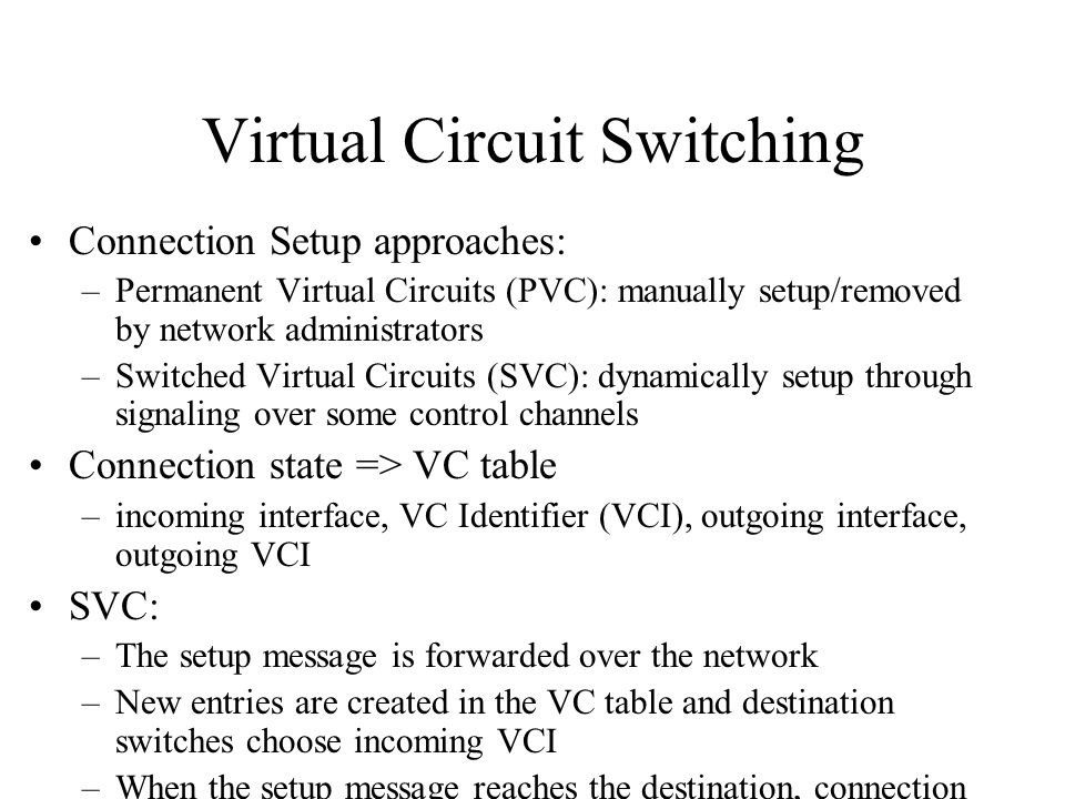Virtual Circuit Switching Connection Setup approaches: –Permanent Virtual Circuits (PVC): manually setup/removed by network administrators –Switched V