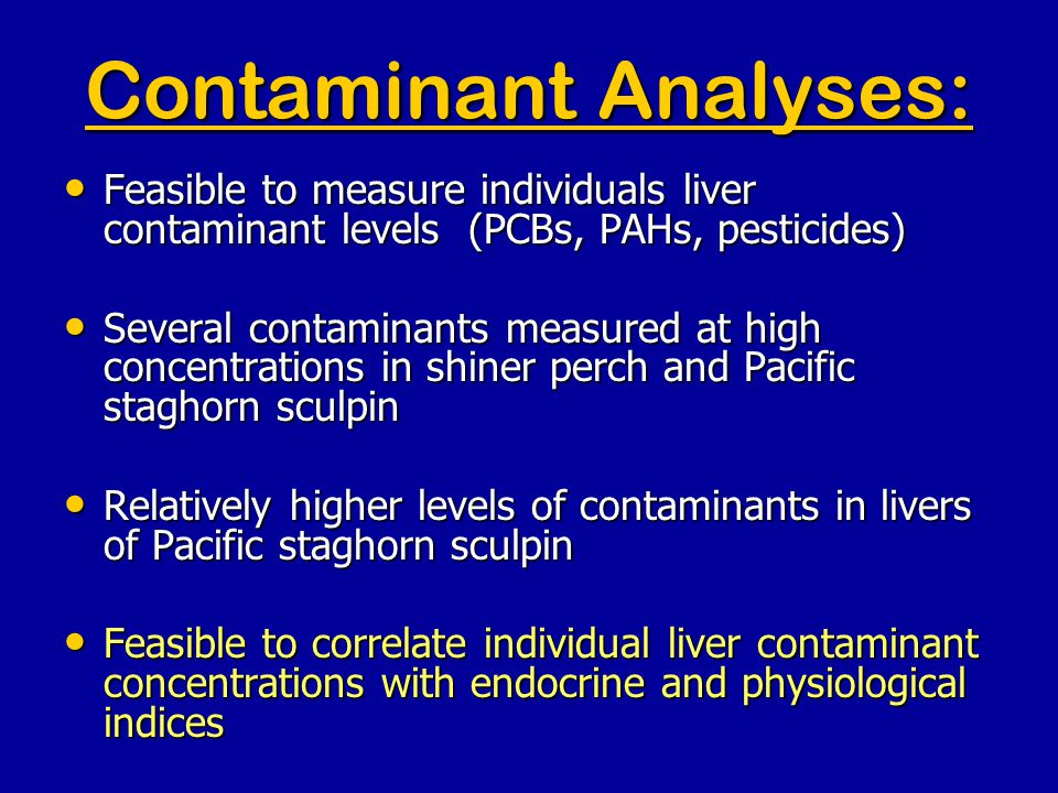Contaminant Analyses: Feasible to measure individuals liver contaminant levels (PCBs, PAHs, pesticides) Feasible to measure individuals liver contaminant levels (PCBs, PAHs, pesticides) Several contaminants measured at high concentrations in shiner perch and Pacific staghorn sculpin Several contaminants measured at high concentrations in shiner perch and Pacific staghorn sculpin Relatively higher levels of contaminants in livers of Pacific staghorn sculpin Relatively higher levels of contaminants in livers of Pacific staghorn sculpin Feasible to correlate individual liver contaminant concentrations with endocrine and physiological indices Feasible to correlate individual liver contaminant concentrations with endocrine and physiological indices