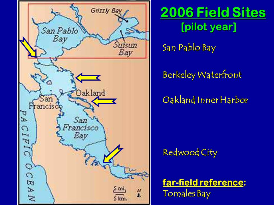 San Pablo Bay Berkeley Waterfront Oakland Inner Harbor Redwood City far-field reference: Tomales Bay 2006 Field Sites [pilot year]