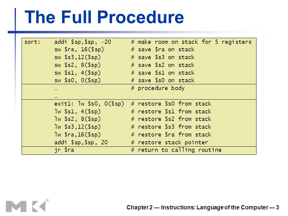 Chapter 2 — Instructions: Language of the Computer — 14 Concluding Remarks Measure MIPS instruction executions in benchmark programs Consider making the common case fast Consider compromises Instruction classMIPS examplesSPEC2006 IntSPEC2006 FP Arithmetic add, sub, addi 16%48% Data transfer lw, sw, lb, lbu, lh, lhu, sb, lui 35%36% Logical and, or, nor, andi, ori, sll, srl 12%4% Cond.
