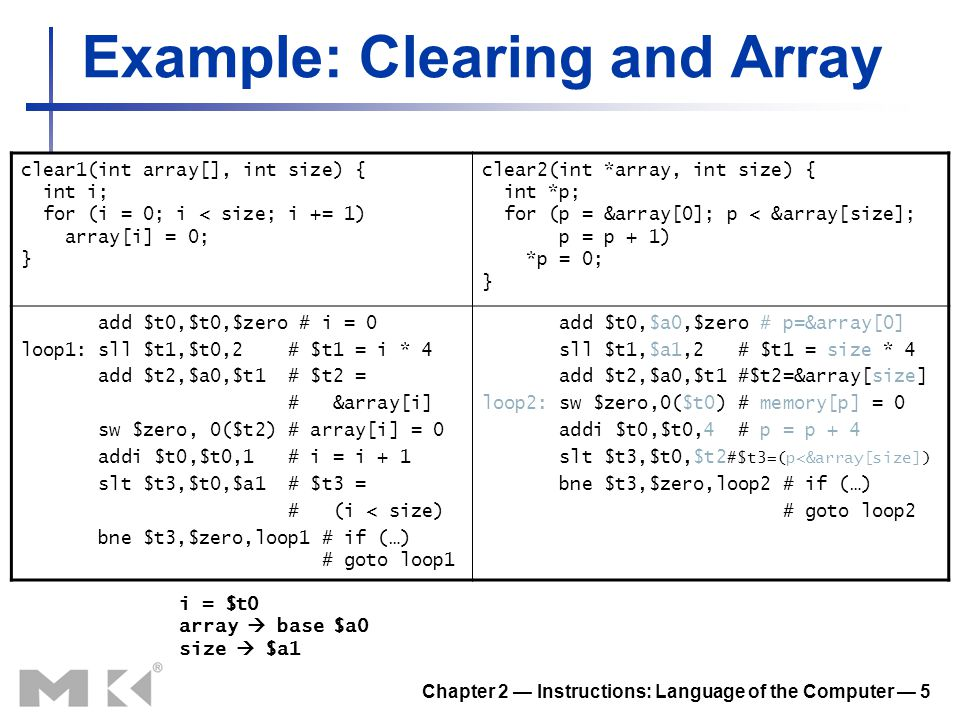 Chapter 2 — Instructions: Language of the Computer — 5 Example: Clearing and Array clear1(int array[], int size) { int i; for (i = 0; i < size; i += 1
