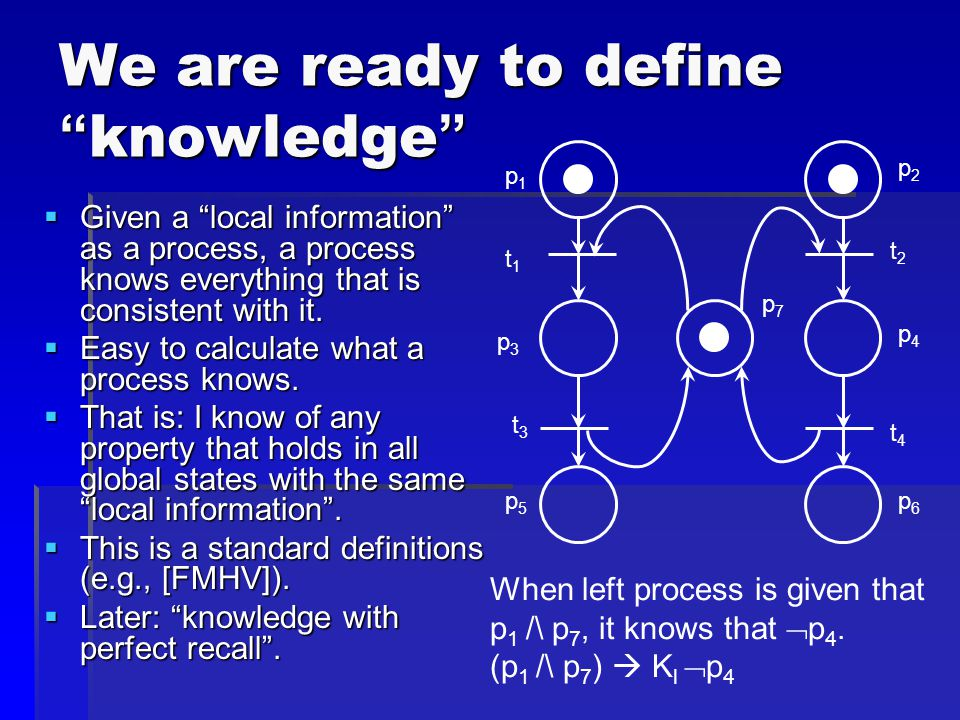 We are ready to define knowledge  Given a local information as a process, a process knows everything that is consistent with it.