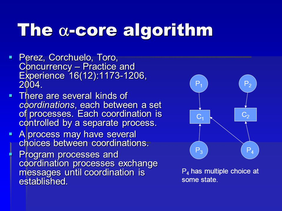 The  -core algorithm  Perez, Corchuelo, Toro, Concurrency – Practice and Experience 16(12):1173-1206, 2004.  There are several kinds of coordinatio