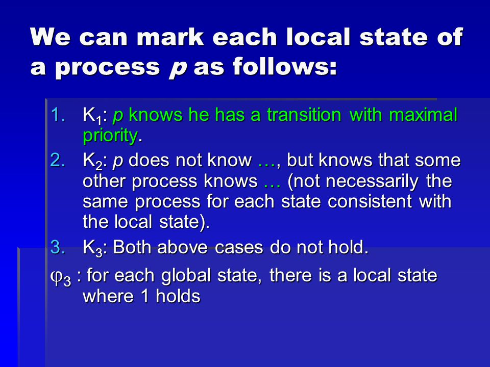 We can mark each local state of a process p as follows: 1.K 1 : p knows he has a transition with maximal priority. 2.K 2 : p does not know …, but know