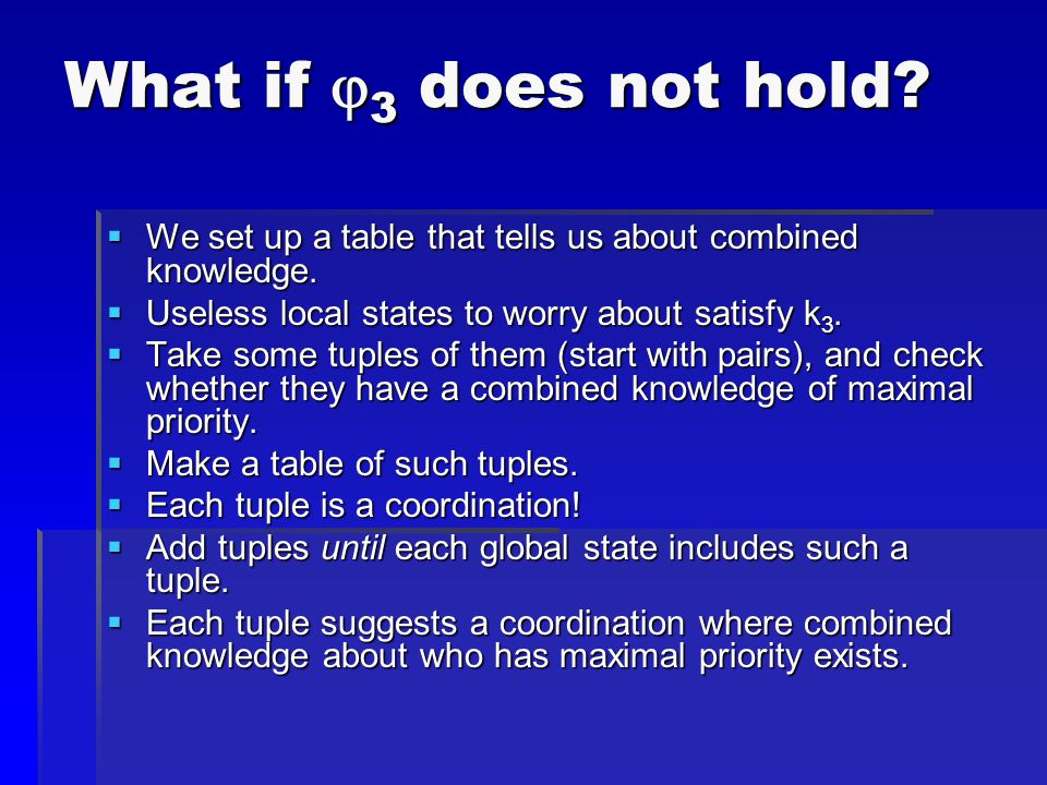 What if  3 does not hold.  We set up a table that tells us about combined knowledge.
