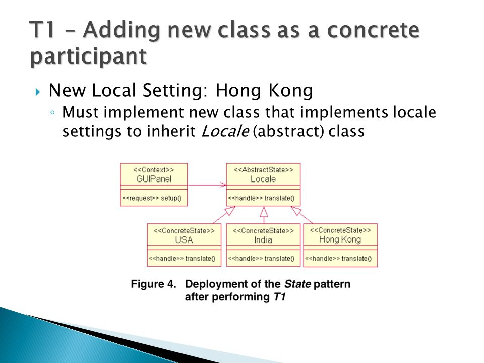  New Local Setting: Hong Kong ◦ Must implement new class that implements locale settings to inherit Locale (abstract) class T1 – Adding new class as a concrete participant