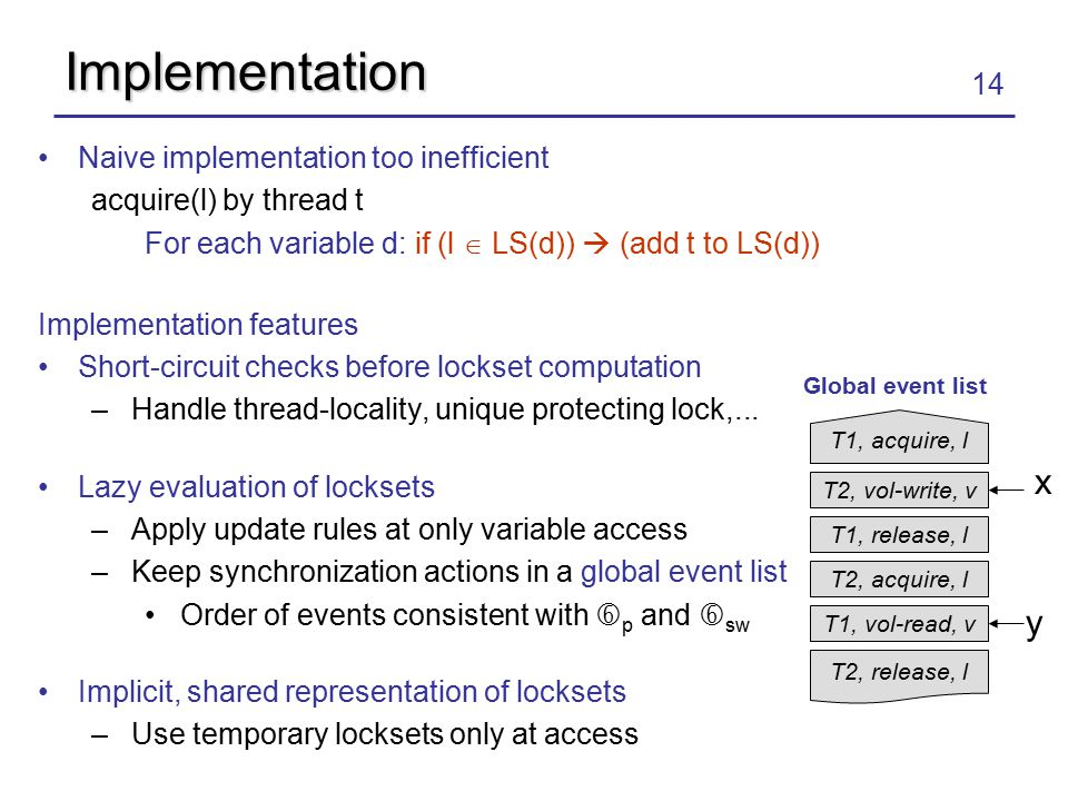14 Implementation Naive implementation too inefficient acquire(l) by thread t For each variable d: if (l  LS(d))  (add t to LS(d)) Implementation features Short-circuit checks before lockset computation –Handle thread-locality, unique protecting lock,...