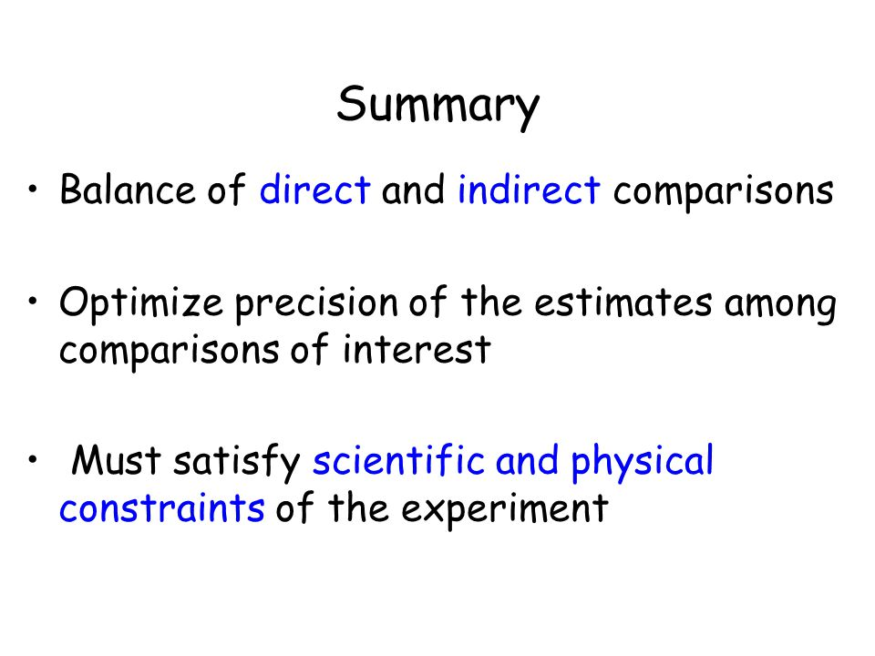 Summary Balance of direct and indirect comparisons Optimize precision of the estimates among comparisons of interest Must satisfy scientific and physical constraints of the experiment