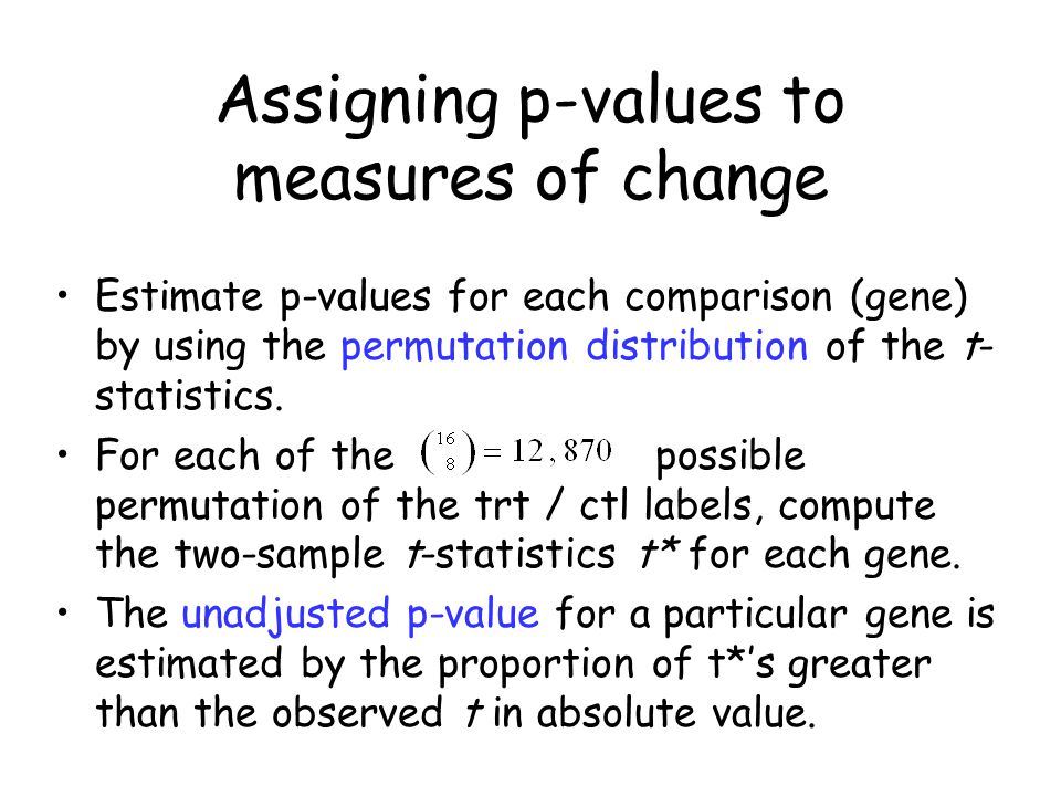 Assigning p-values to measures of change Estimate p-values for each comparison (gene) by using the permutation distribution of the t- statistics.