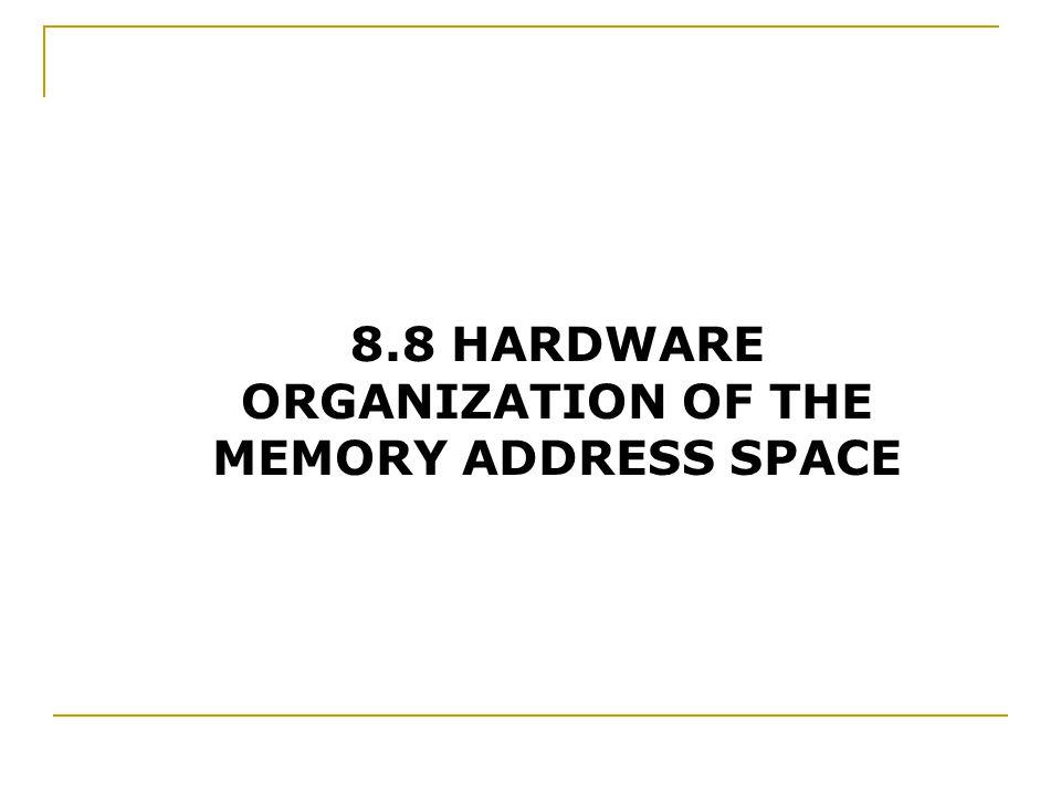 8.8 HARDWARE ORGANIZATION OF THE MEMORY ADDRESS SPACE