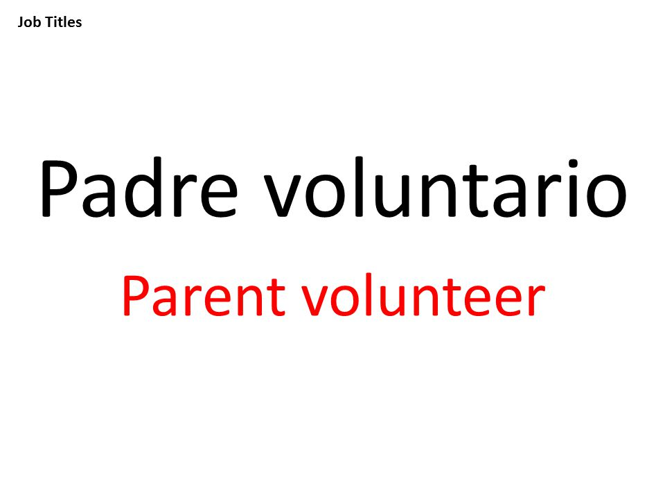 Job Titles Padre voluntario Parent volunteer