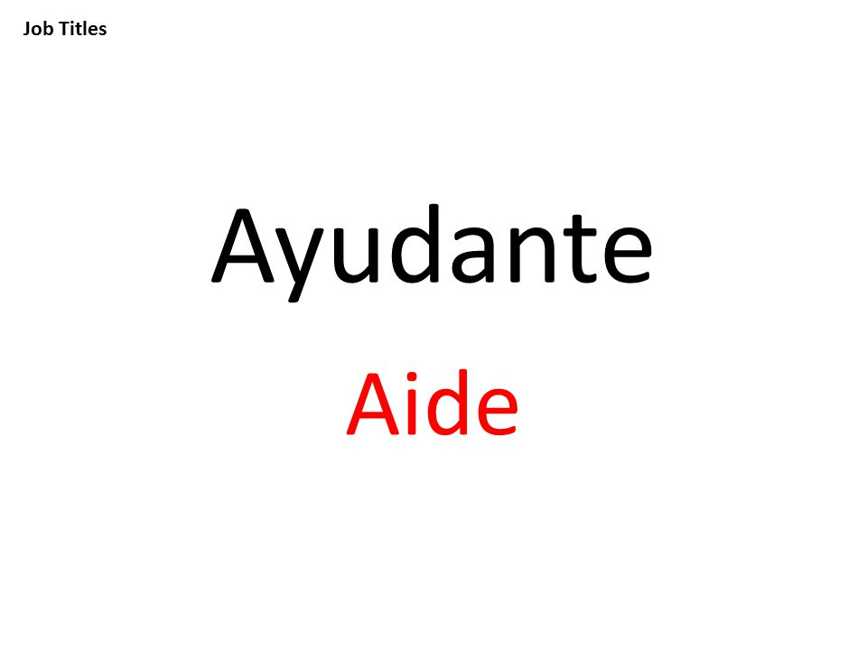 Job Titles Ayudante Aide