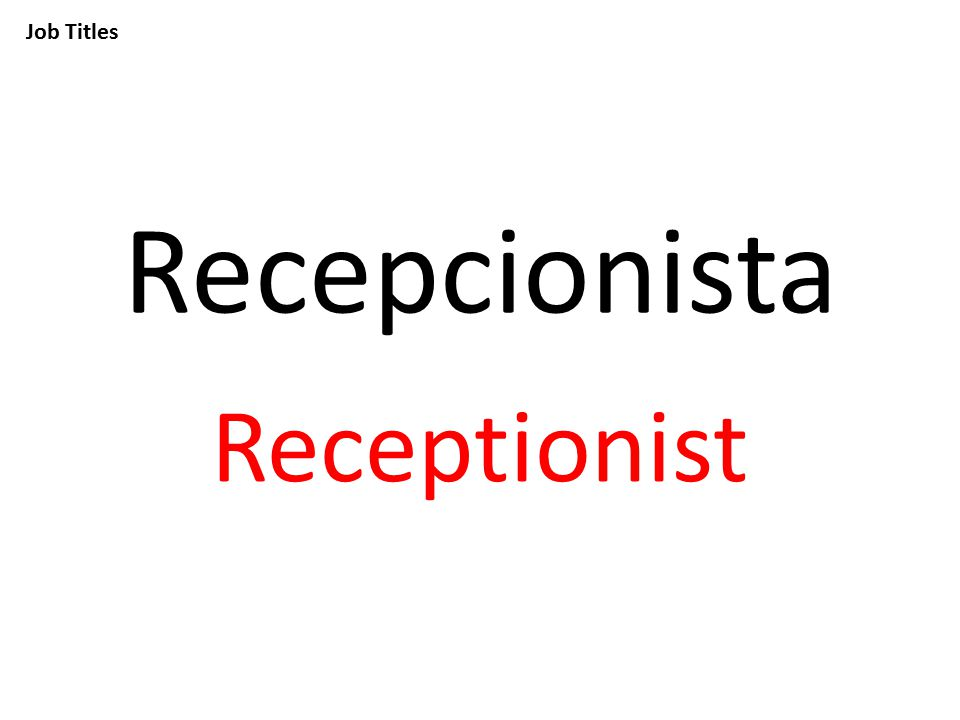 Job Titles Recepcionista Receptionist