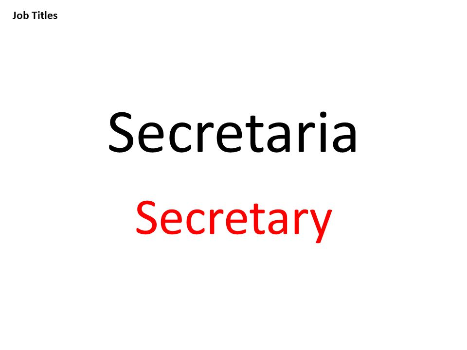 Job Titles Secretaria Secretary
