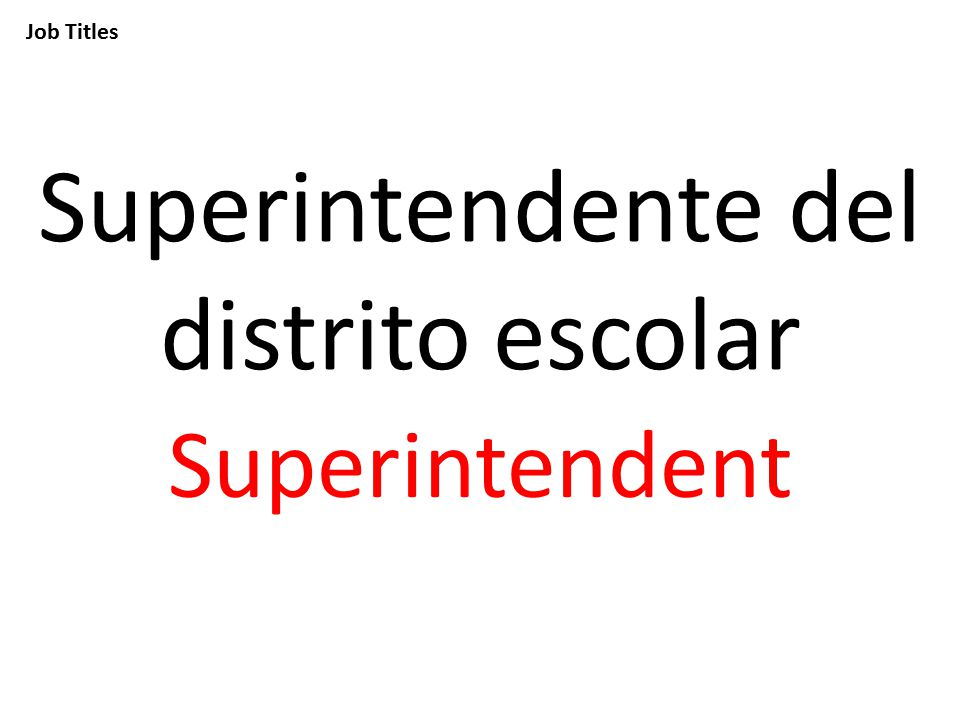 Job Titles Superintendente del distrito escolar Superintendent