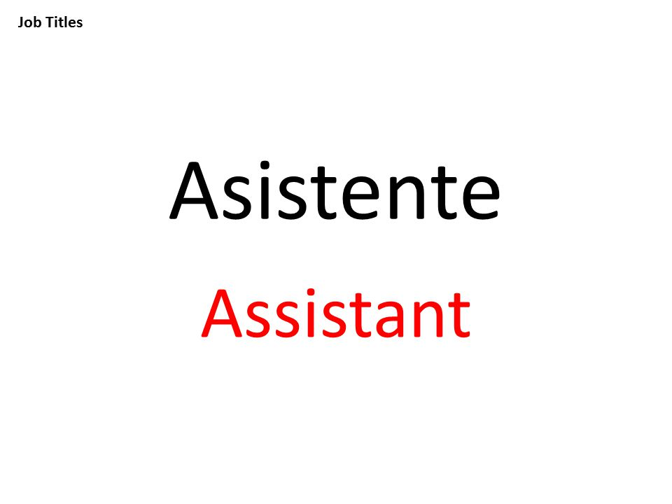 Job Titles Asistente Assistant