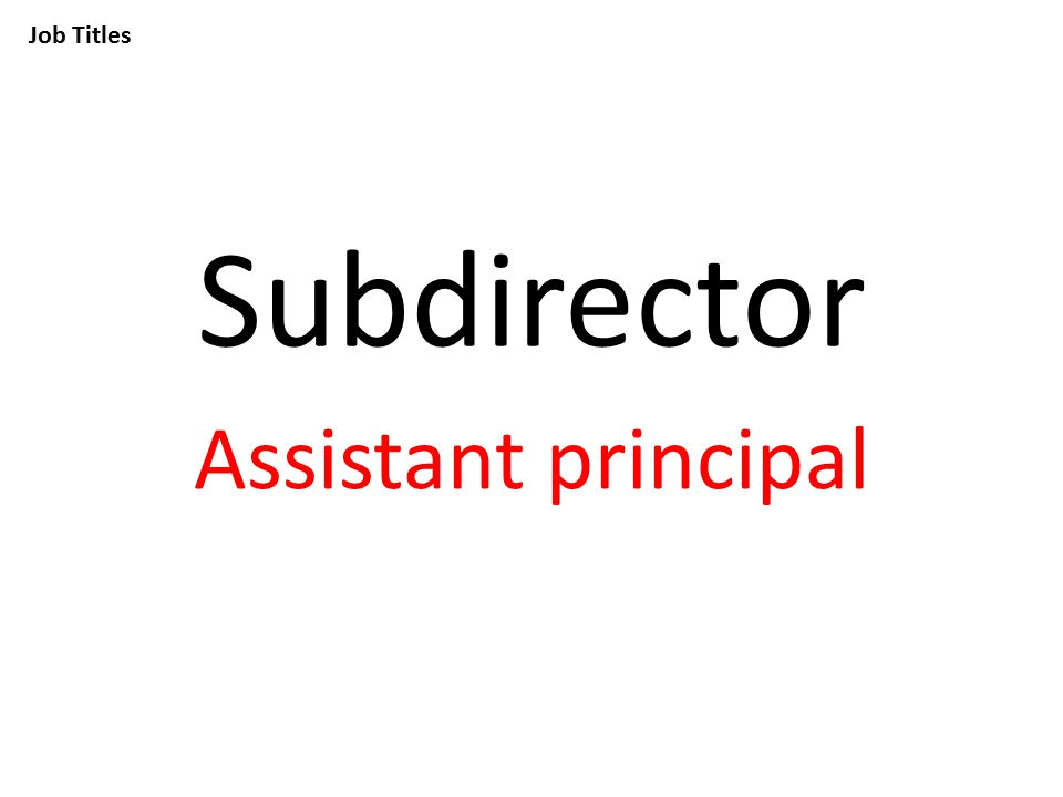 Job Titles Subdirector Assistant principal