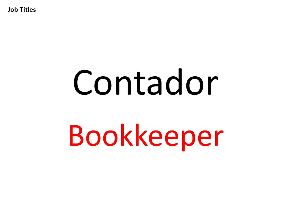 Job Titles Contador Bookkeeper