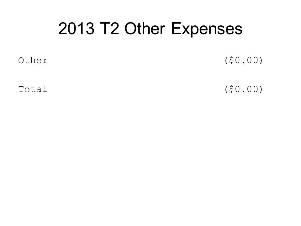 2013 T2 Other Expenses Other ($0.00) Total ($0.00)