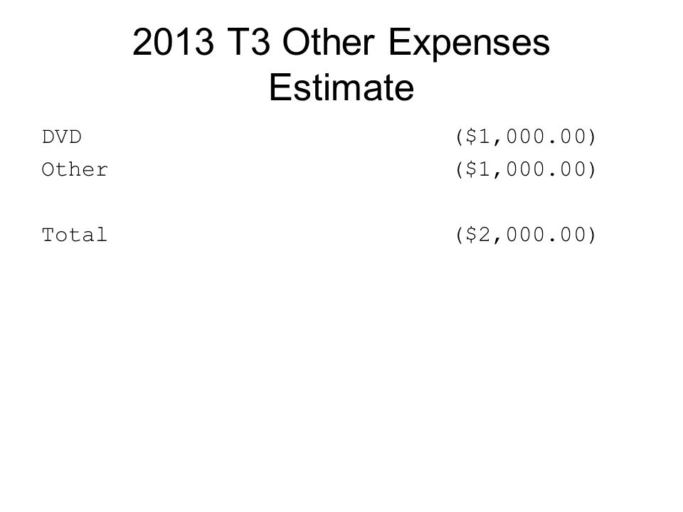 2013 T3 Other Expenses Estimate DVD($1,000.00) Other ($1,000.00) Total($2,000.00)