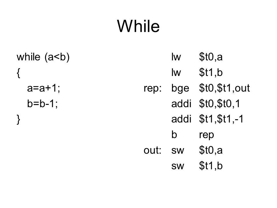 While while (a<b) { a=a+1; b=b-1; } lw$t0,a lw$t1,b rep:bge$t0,$t1,out addi$t0,$t0,1 addi$t1,$t1,-1 brep out:sw$t0,a sw$t1,b