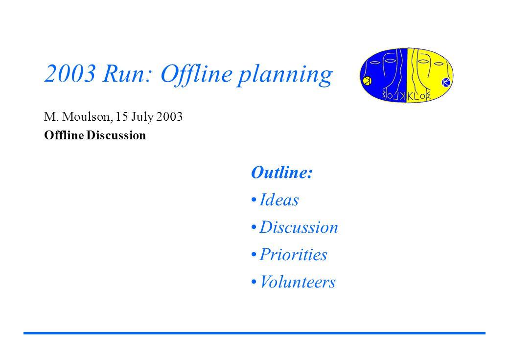2003 Run: Offline planning M.