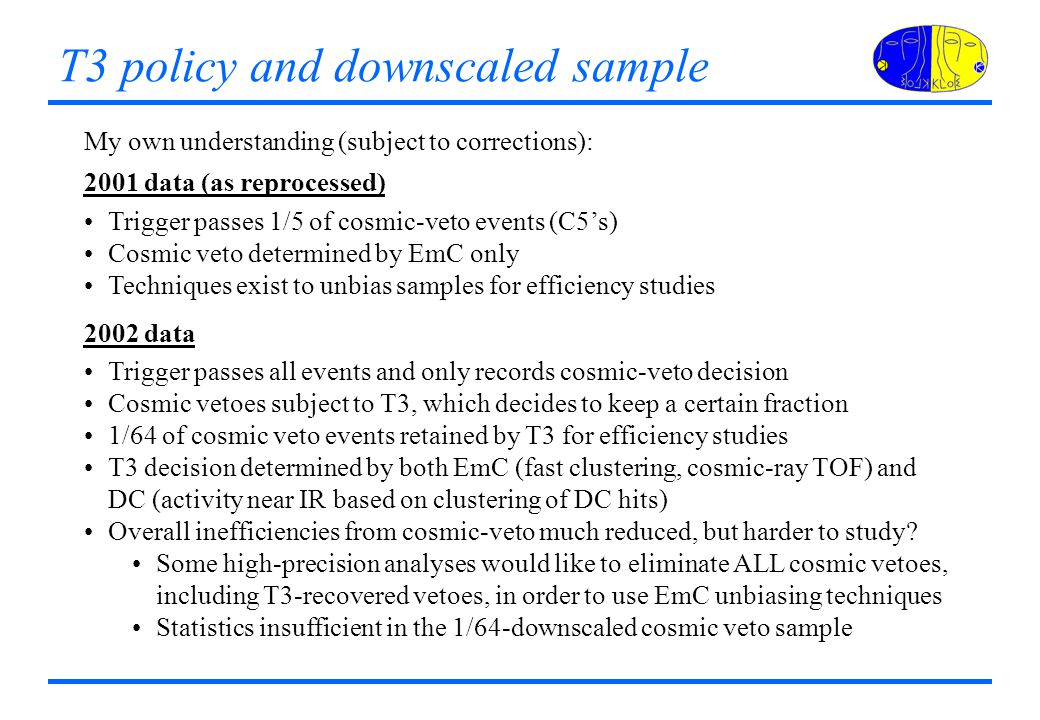 T3 policy and downscaled sample My own understanding (subject to corrections): 2001 data (as reprocessed) Trigger passes 1/5 of cosmic-veto events (C5's) Cosmic veto determined by EmC only Techniques exist to unbias samples for efficiency studies 2002 data Trigger passes all events and only records cosmic-veto decision Cosmic vetoes subject to T3, which decides to keep a certain fraction 1/64 of cosmic veto events retained by T3 for efficiency studies T3 decision determined by both EmC (fast clustering, cosmic-ray TOF) and DC (activity near IR based on clustering of DC hits) Overall inefficiencies from cosmic-veto much reduced, but harder to study.