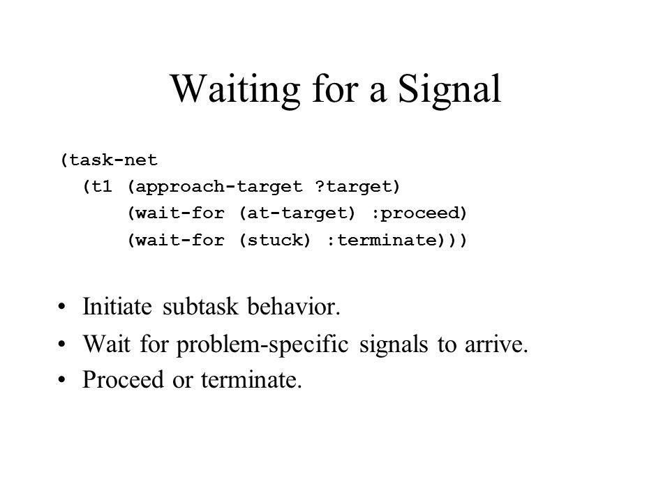 Waiting for a Signal (task-net (t1 (approach-target ?target) (wait-for (at-target) :proceed) (wait-for (stuck) :terminate))) Initiate subtask behavior