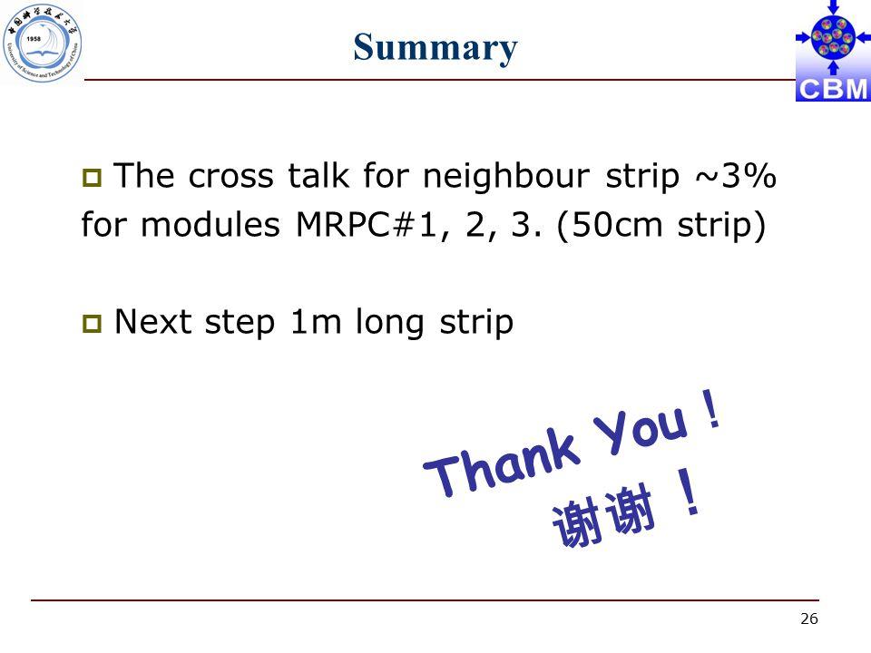 26 Summary  The cross talk for neighbour strip ~3% for modules MRPC#1, 2, 3.
