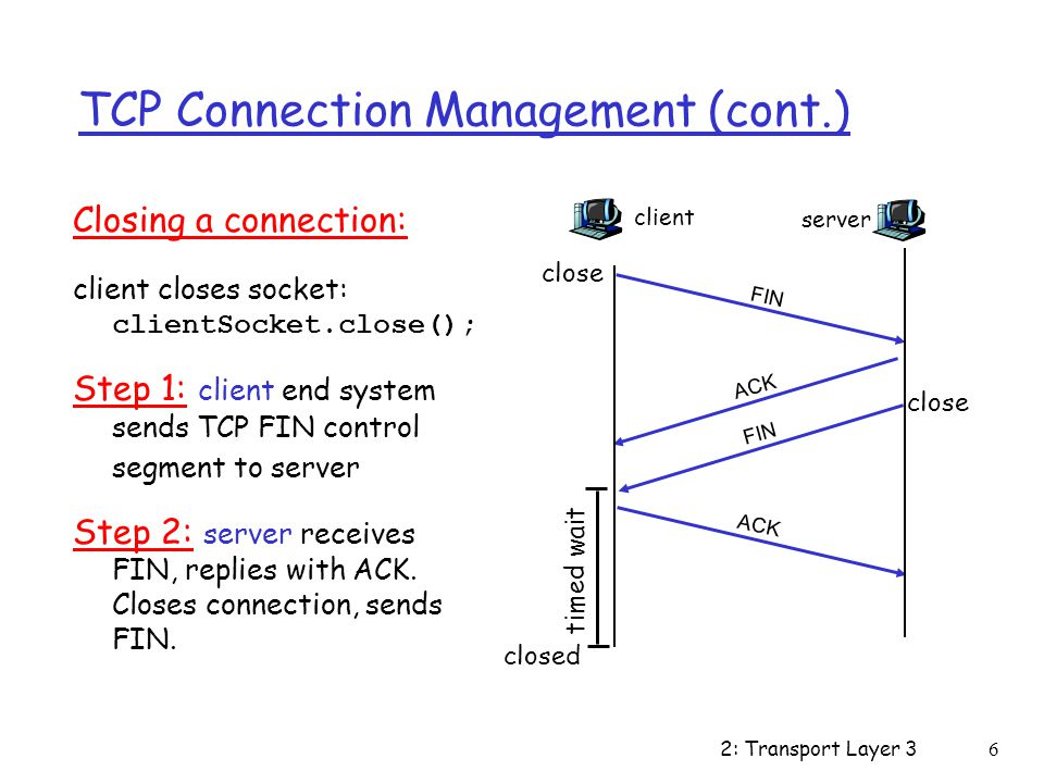 2: Transport Layer 37 TCP Connection Management (cont.) Step 3: client receives FIN, replies with ACK.