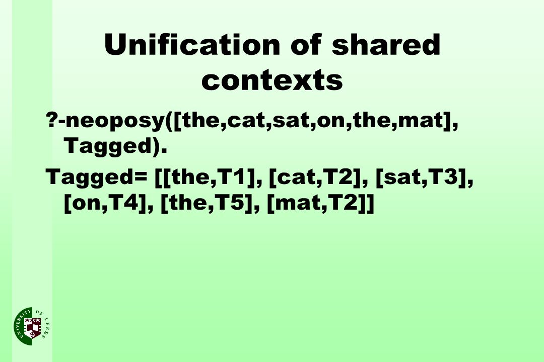 Unification of shared contexts ?-neoposy([the,cat,sat,on,the,mat], Tagged).