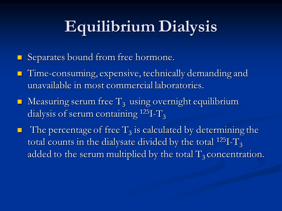 Equilibrium Dialysis Separates bound from free hormone.
