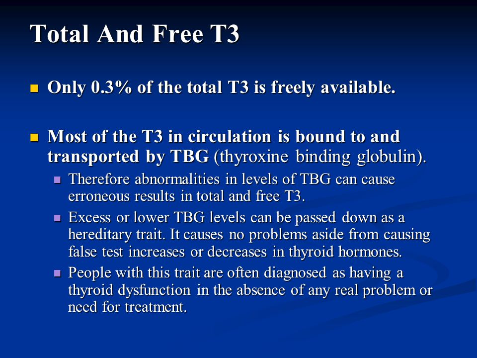 Total And Free T3 Only 0.3% of the total T3 is freely available.