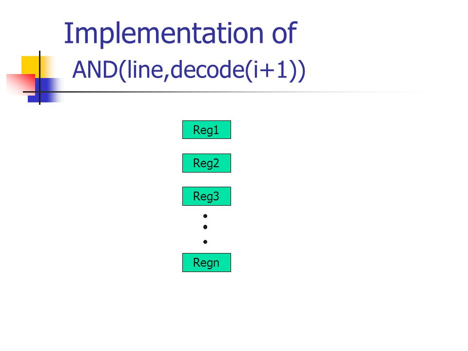 Implementation of AND(line,decode(i+1)) Reg1 Reg2 Reg3 Regn