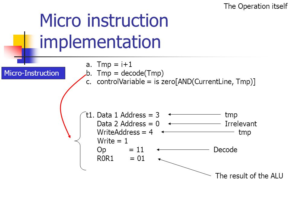 Micro instruction implementation t1.