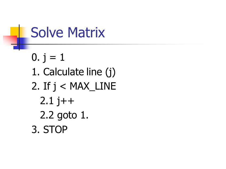 Calculate Line j 0.i = 0, tmp = 0 1. Calculate Cell i.
