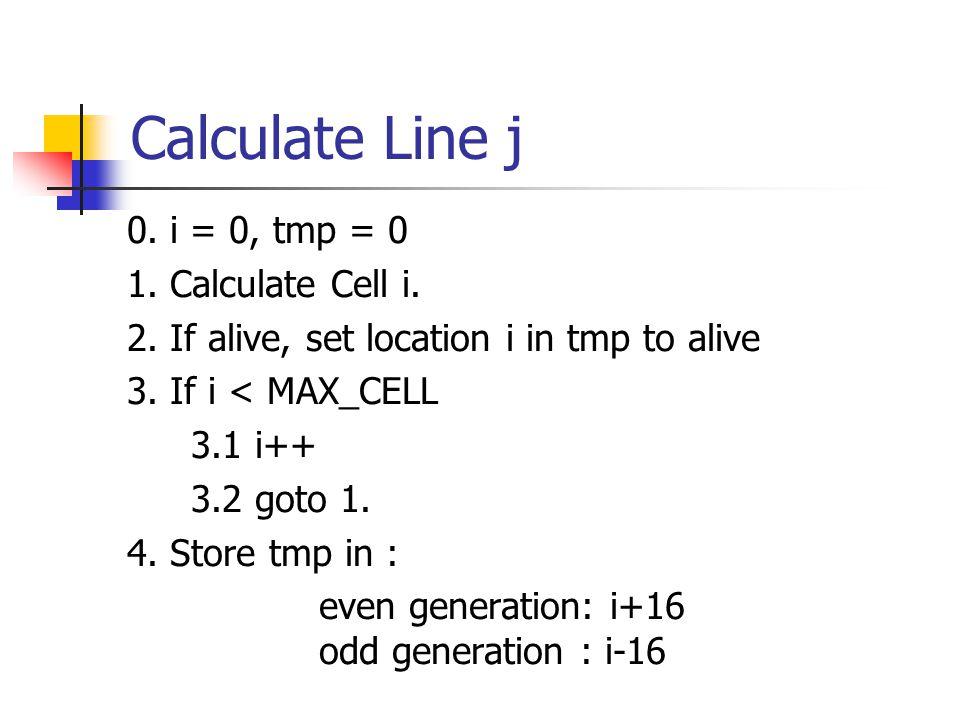 CellAlive(cell index i, line index j) 0.N = Count_Neighbors(i,j-1,false) 1.