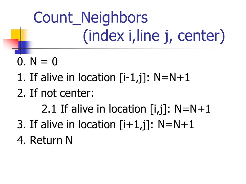 Variables of the algorithm Count_Neighbors VariableMeaningAddress CurrentLineHold the current line 0 IThe current index1 NThe Neighbor2 TmpTemporary space3 Constant 1 5 ControlVariableA flag to determine if the operation should be performed 6 CenterIs it the center7