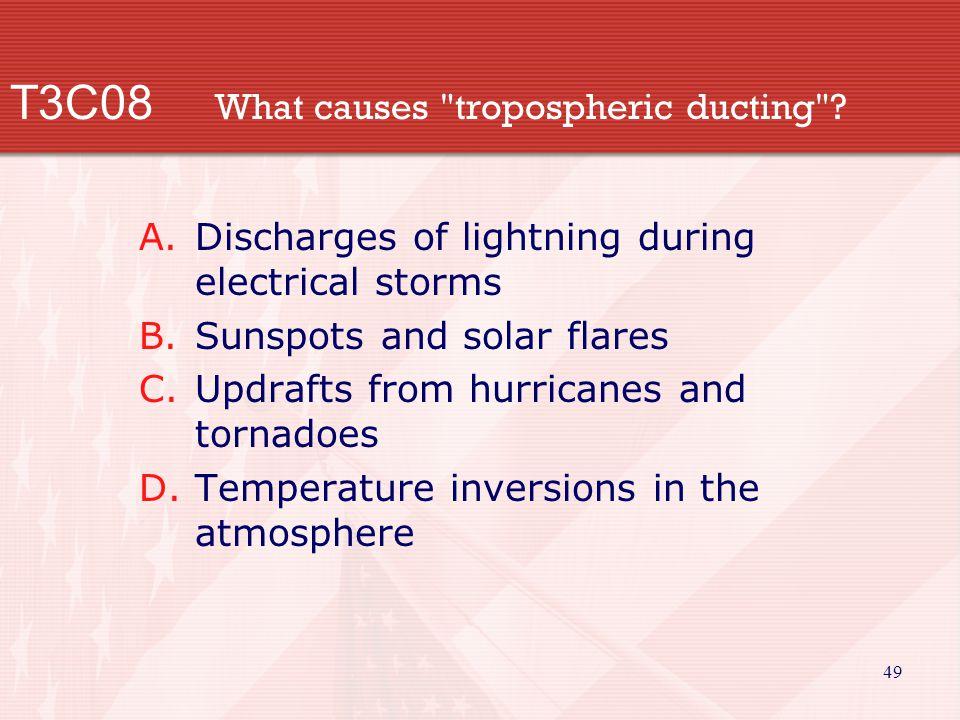 49 T3C08 What causes tropospheric ducting .
